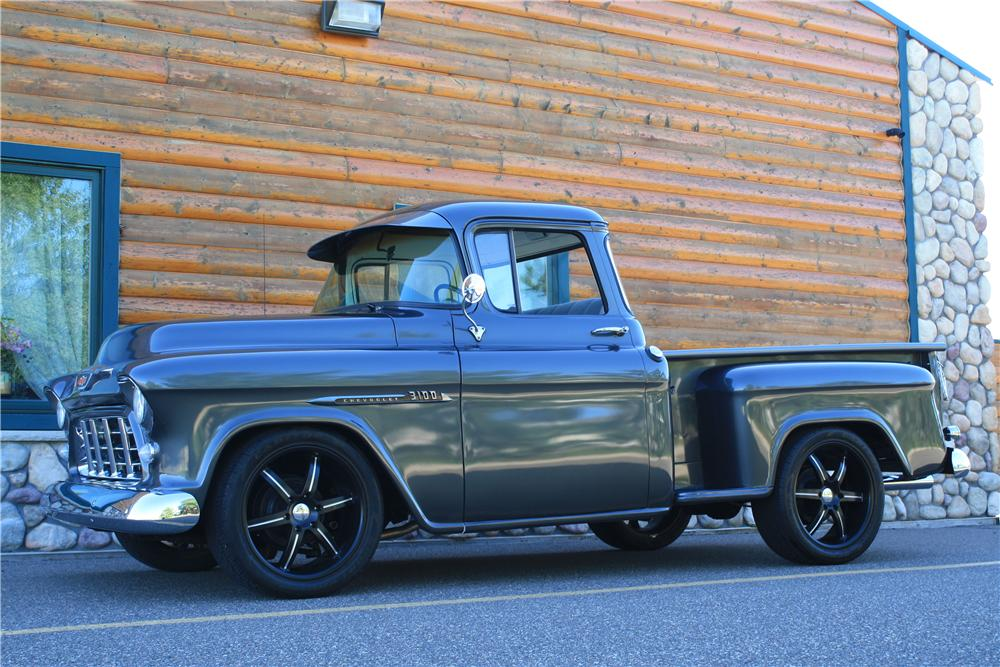 1955 CHEVROLET 3100 CUSTOM PICKUP - Front 3/4 - 177554