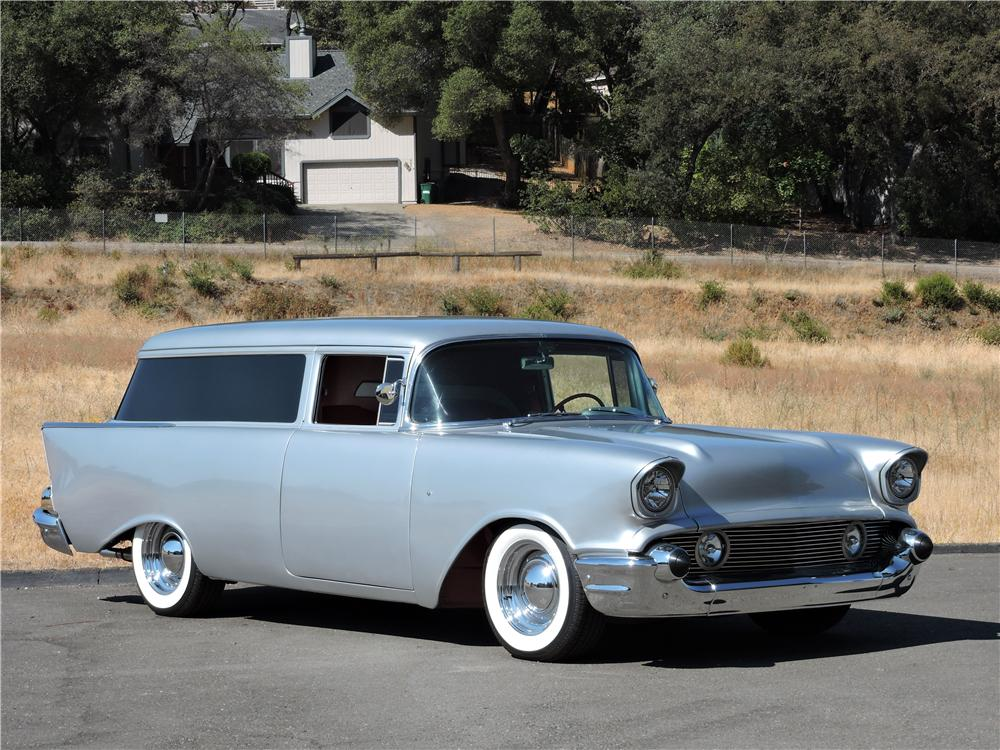 1957 CHEVROLET 210 CUSTOM 2 DOOR  WAGON - Front 3/4 - 177631