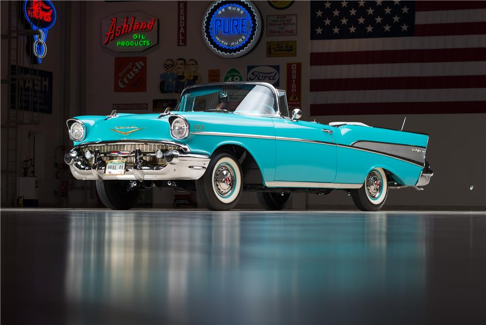 1957 CHEVROLET BEL AIR CONVERTIBLE - Front 3/4 - 178543