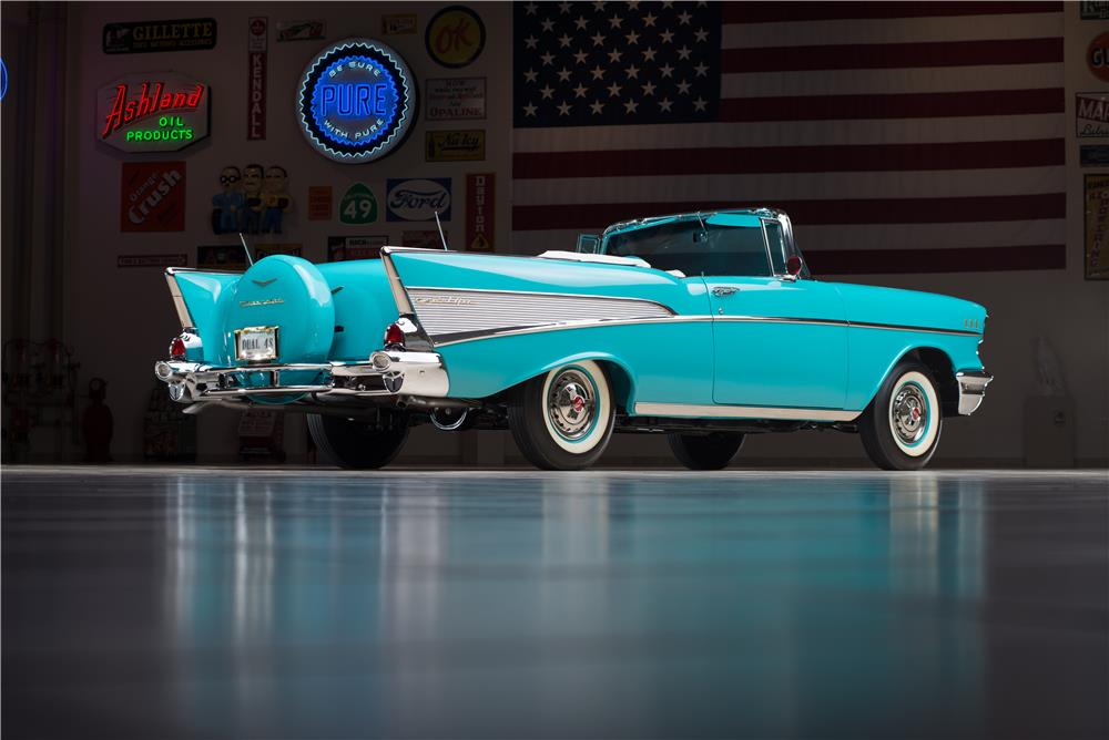 1957 CHEVROLET BEL AIR CONVERTIBLE - Rear 3/4 - 178543