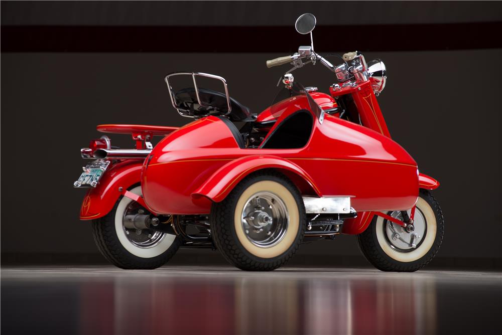 1957 CUSHMAN EAGLE SCOOTER W/SIDECAR - Rear 3/4 - 178597