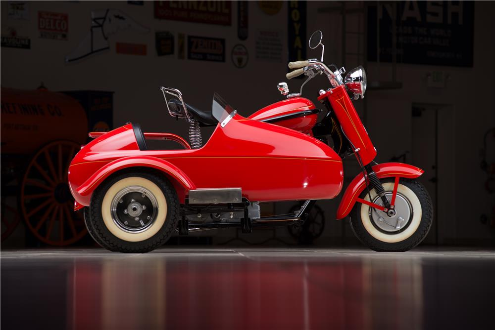 1957 CUSHMAN EAGLE SCOOTER W/SIDECAR - Side Profile - 178597