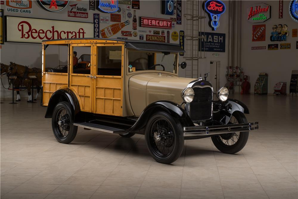 1929 FORD MODEL A STATION WAGON WOODY - Front 3/4 - 178654