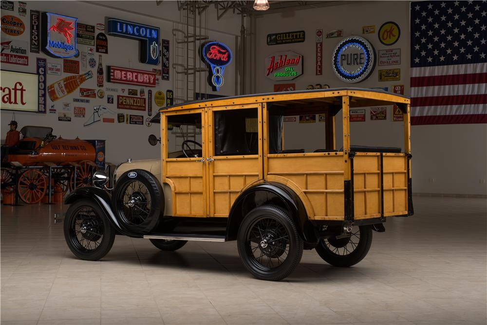 1929 FORD MODEL A STATION WAGON WOODY - Rear 3/4 - 178654