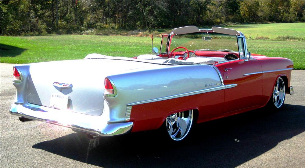 1955 CHEVROLET BEL AIR CUSTOM CONVERTIBLE - Rear 3/4 - 179996