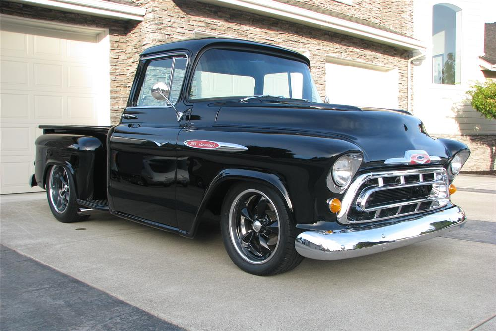 1957 CHEVROLET CUSTOM PICKUP - Front 3/4 - 180476