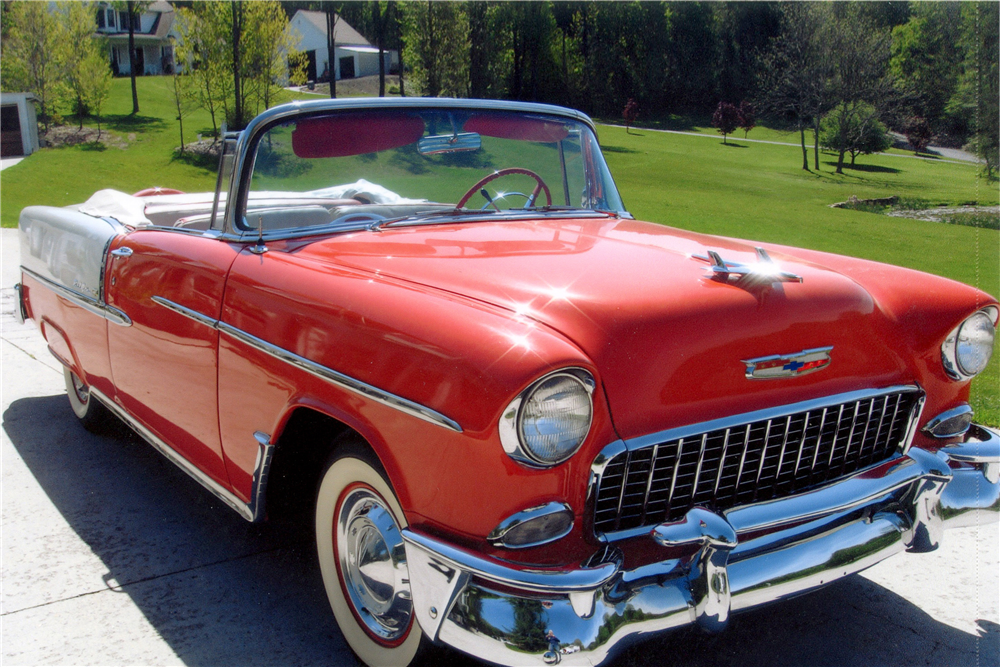 1955 CHEVROLET BEL AIR CONVERTIBLE - Front 3/4 - 185561