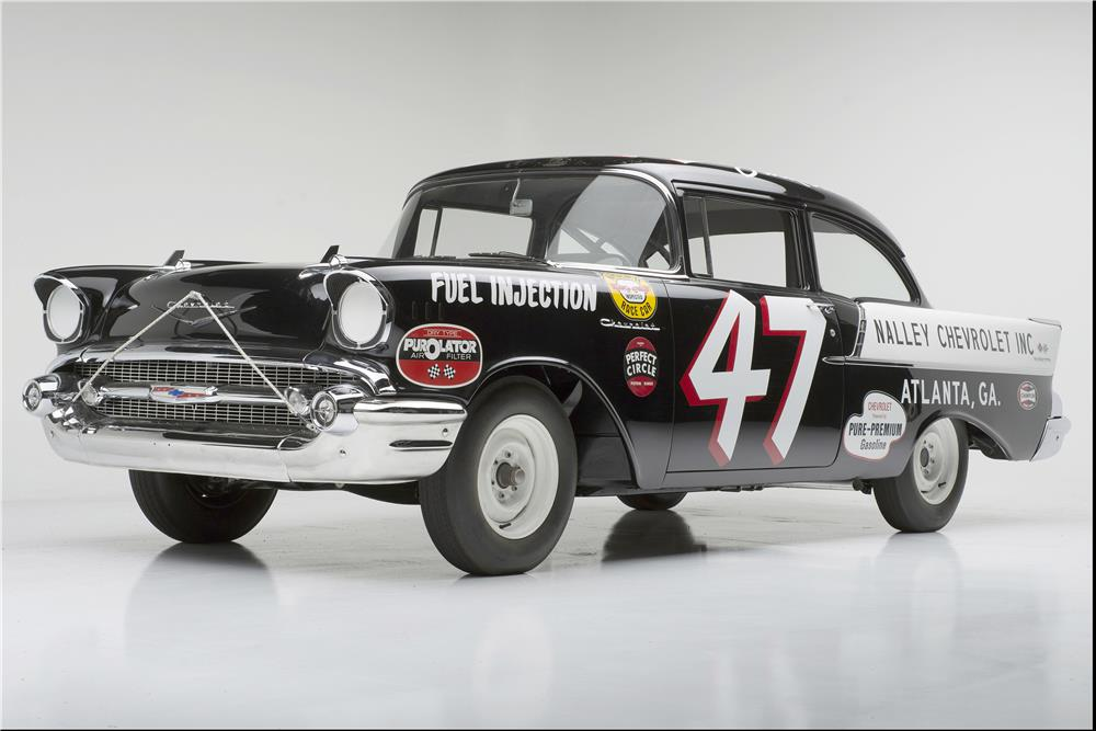 "1957 CHEVROLET 150 RACE CAR ""BLACK WIDOW"" - Front 3/4 - 185733"