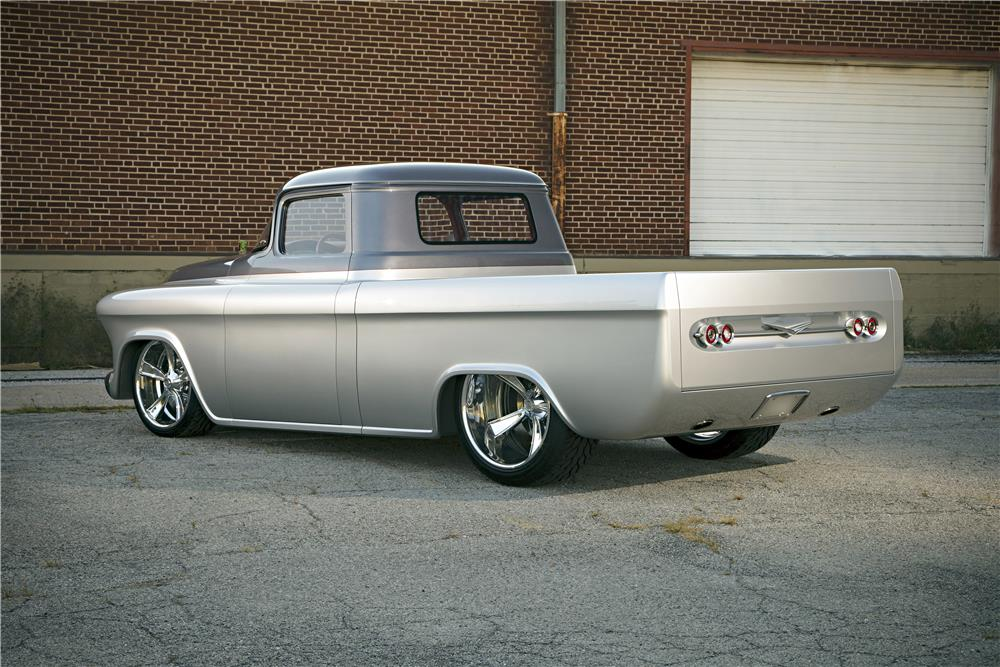 "1957 CHEVROLET CUSTOM TRUCK ""QUIKSILVER"" - Rear 3/4 - 185887"