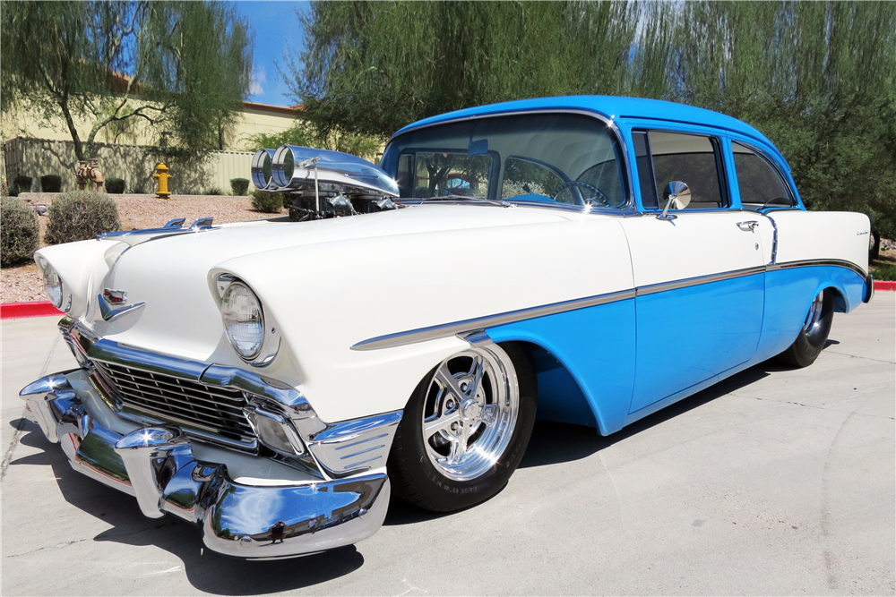 1956 CHEVROLET 210 CUSTOM 2 DOOR POST - Front 3/4 - 187294