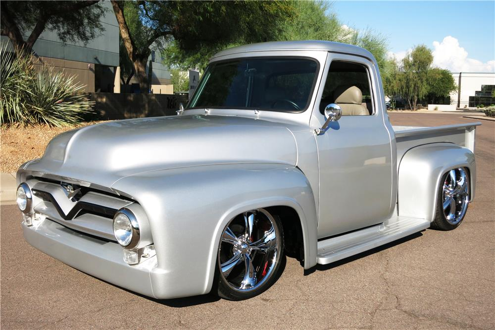 1955 FORD F-100 CUSTOM PICKUP - Front 3/4 - 187298