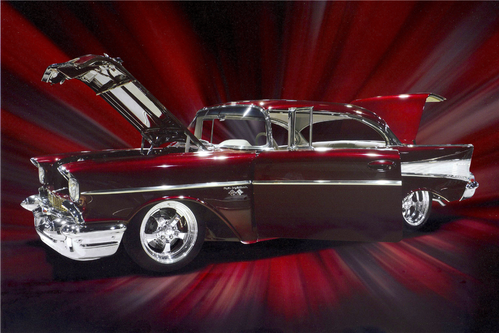 1957 CHEVROLET BEL AIR CUSTOM HARDTOP - Front 3/4 - 187442
