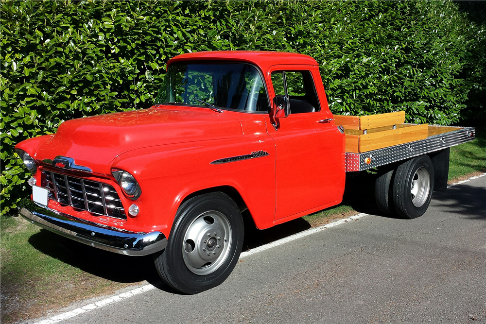 1956 CHEVROLET 3800 FLATBED PICKUP - Front 3/4 - 189219