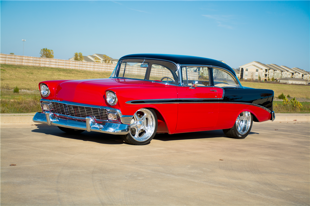 1956 CHEVROLET BEL AIR CUSTOM 2-DOOR POST - Front 3/4 - 189312