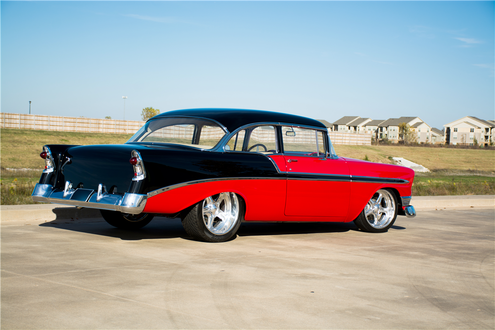1956 CHEVROLET BEL AIR CUSTOM 2-DOOR POST - Rear 3/4 - 189312