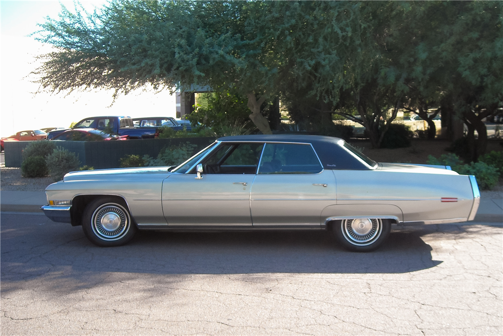 1972 CADILLAC DE VILLE 4-DOOR SEDAN - Side Profile - 189343