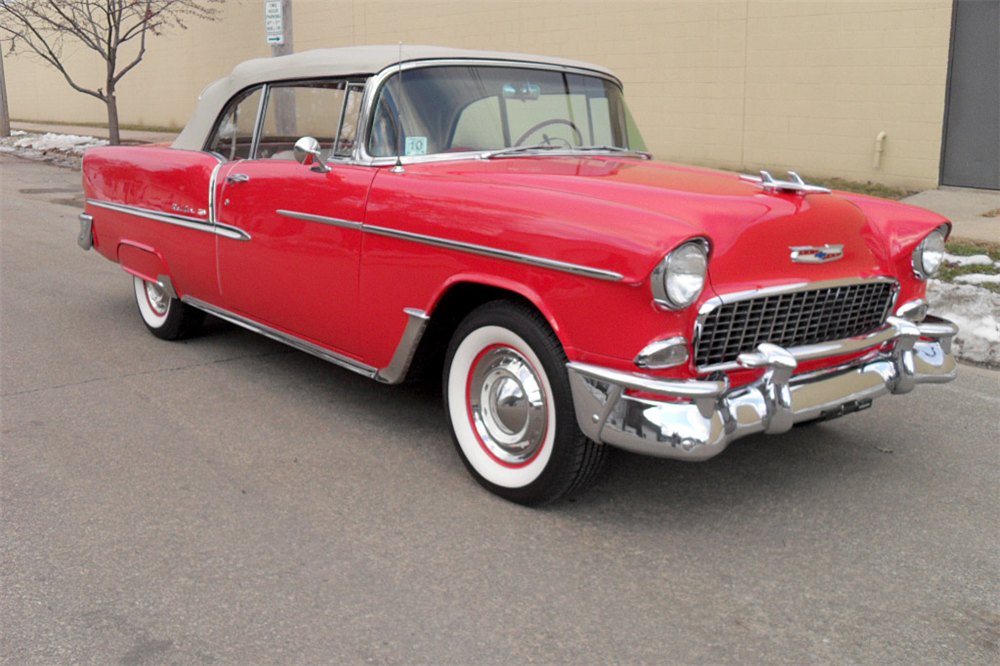 1955 CHEVROLET BEL AIR CONVERTIBLE - Front 3/4 - 189427