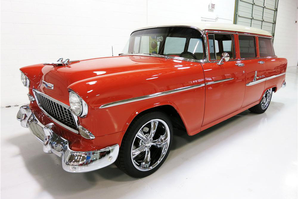 1955 CHEVROLET BEL AIR CUSTOM 4-DOOR WAGON - Front 3/4 - 189503