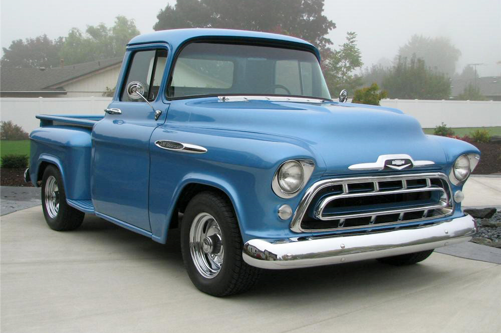 1957 CHEVROLET 3100 CUSTOM PICKUP - Front 3/4 - 189535