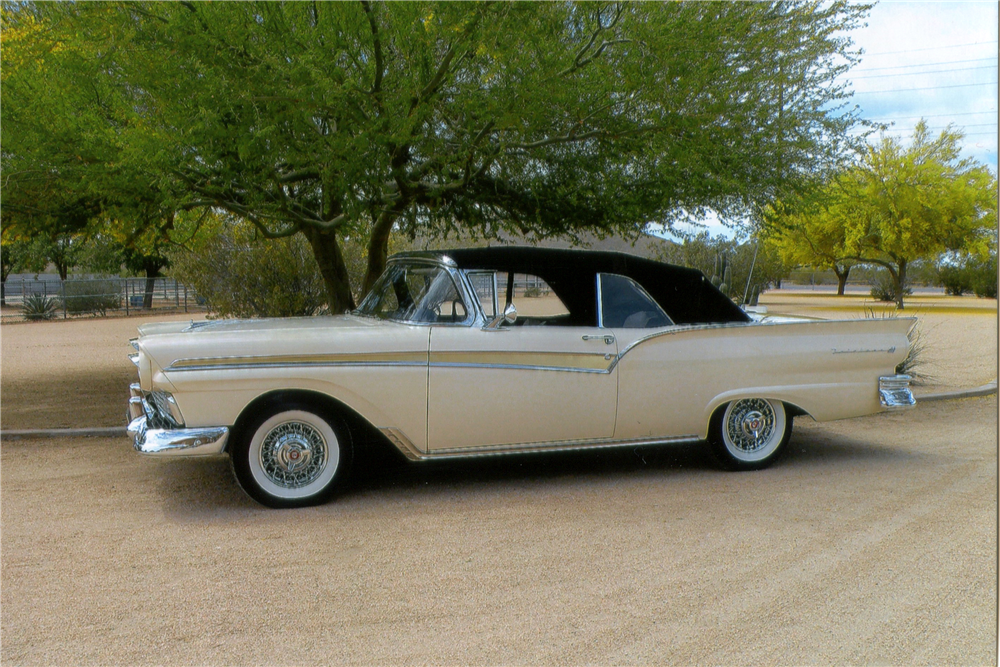 1957 FORD FAIRLANE 500 CONVERTIBLE - Side Profile - 190128