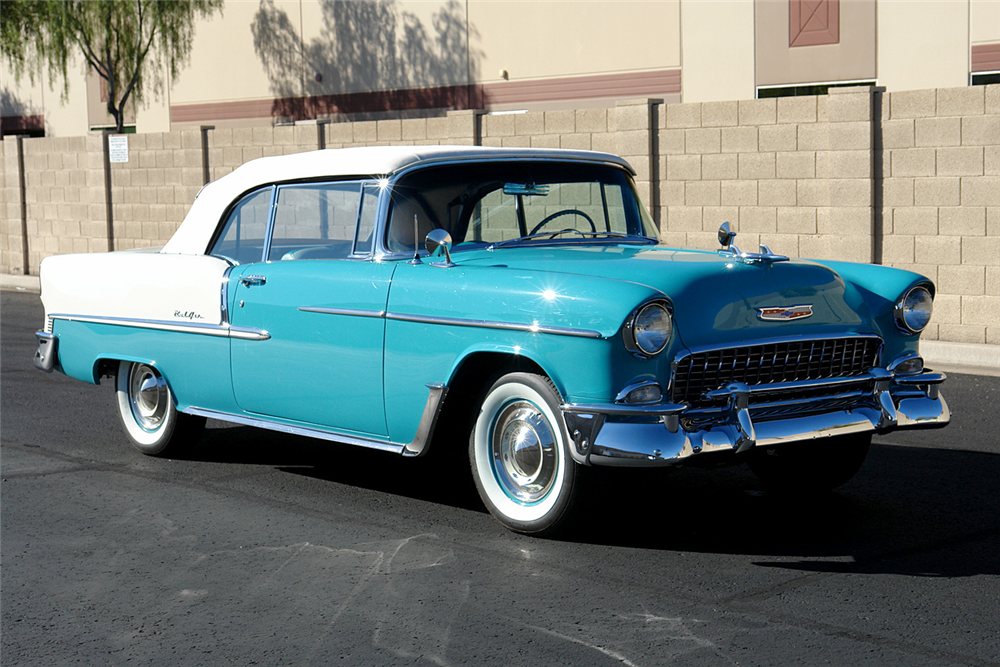 1955 CHEVROLET BEL AIR CONVERTIBLE - Front 3/4 - 190157