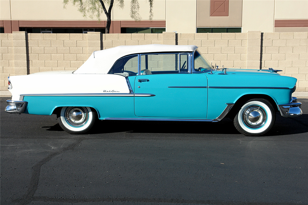 1955 CHEVROLET BEL AIR CONVERTIBLE - Side Profile - 190157