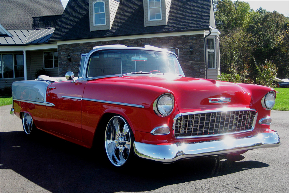 1955 CHEVROLET BEL AIR CUSTOM CONVERTIBLE - Front 3/4 - 190158