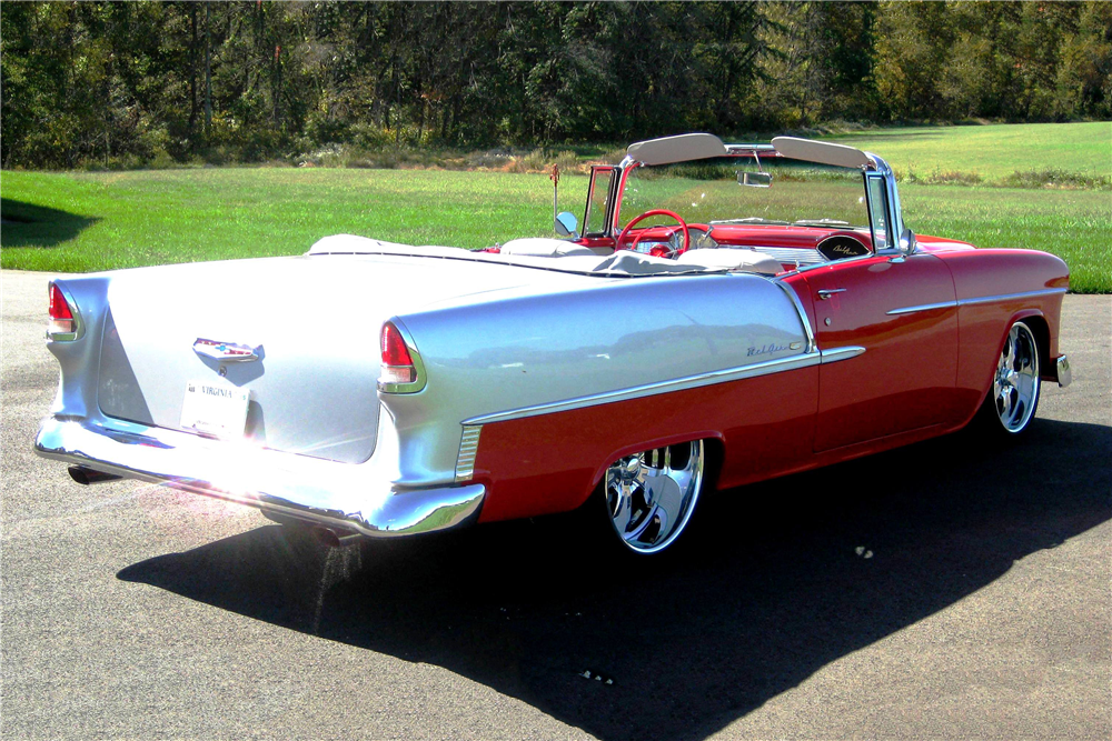 1955 CHEVROLET BEL AIR CUSTOM CONVERTIBLE - Rear 3/4 - 190158