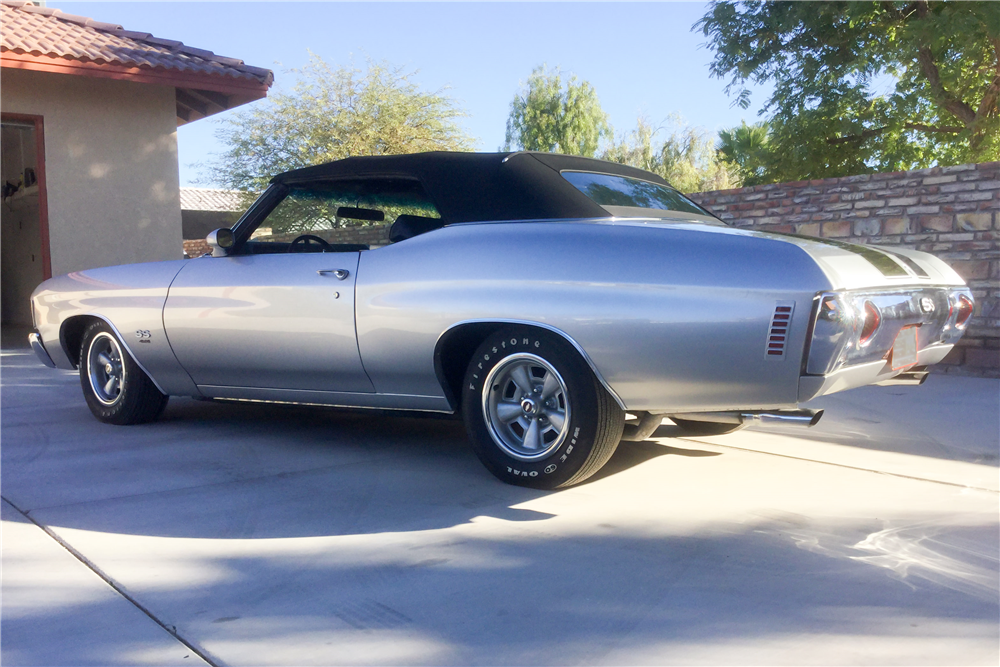 1972 CHEVROLET CHEVELLE CUSTOM CONVERTIBLE - Rear 3/4 - 190181