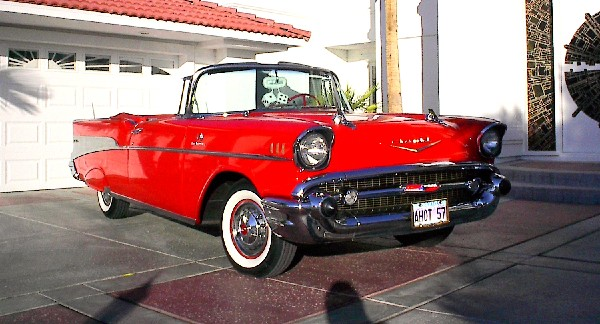 1957 CHEVROLET BEL AIR FI CONVERTIBLE - Front 3/4 - 19309