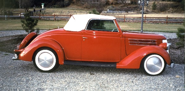 1936 FORD DELUXE CABRIOLET HOT ROD - Side Profile - 19400
