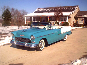 1955 CHEVROLET BEL AIR CONVERTIBLE - Front 3/4 - 19482