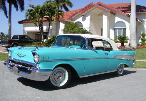 1957 CHEVROLET BEL AIR CONVERTIBLE - Front 3/4 - 19793