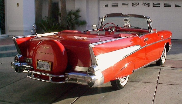 1957 CHEVROLET BEL AIR FI CONVERTIBLE - Rear 3/4 - 19961