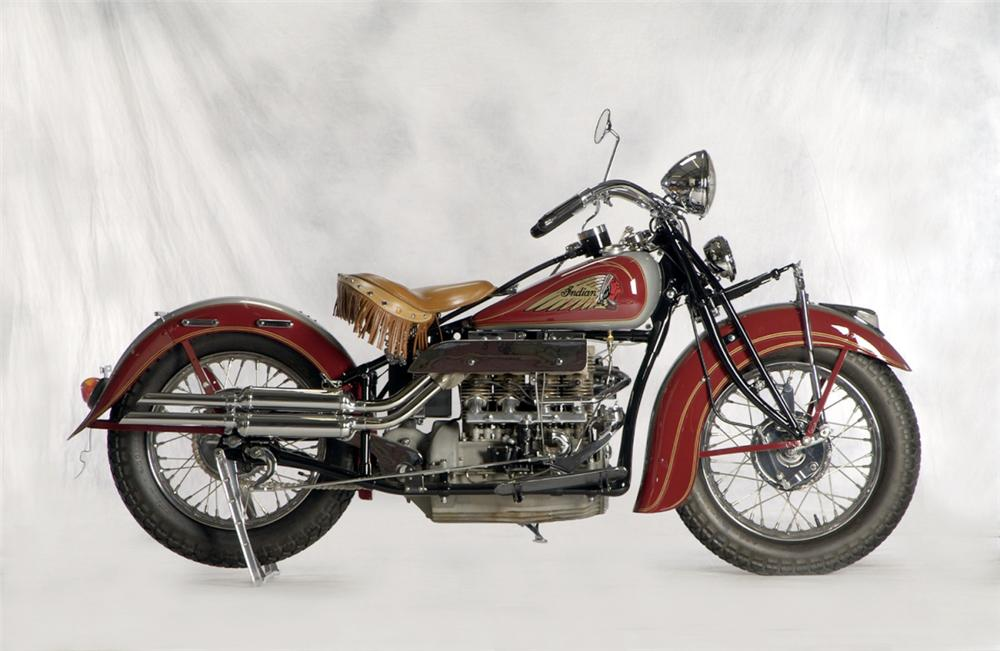 1936 INDIAN 4 CYLINDER MOTORCYCLE - Side Profile - 20261