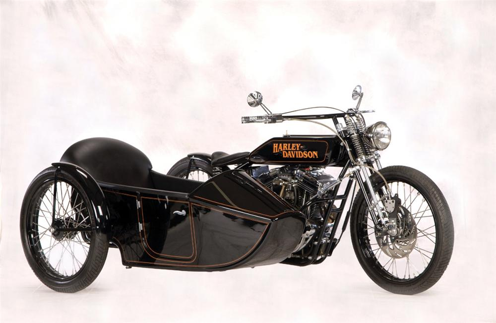 1936 HARLEY-DAVIDSON KNUCKLEHEAD MOTORCYCLE W/SIDECAR - Front 3/4 - 20272