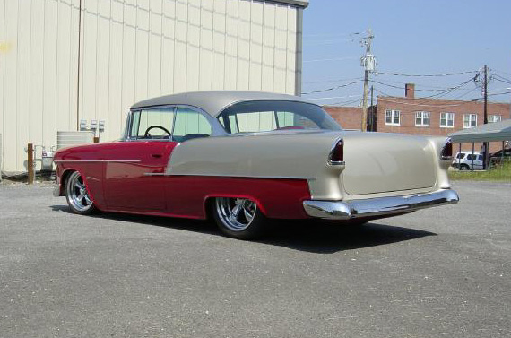 1955 CHEVROLET BEL AIR CUSTOM SPORT COUPE - Rear 3/4 - 20348