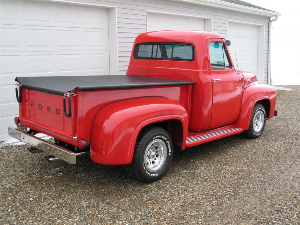 1955 FORD F-100 CUSTOM PICKUP - Rear 3/4 - 20642