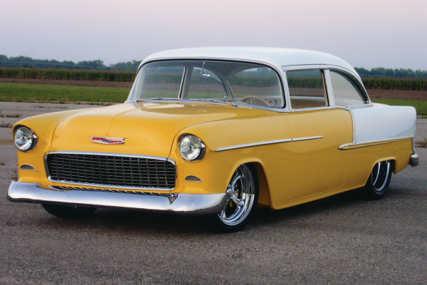 1955 CHEVROLET 210 CUSTOM 2 DOOR SEDAN WITH BELAIR - Front 3/4 - 20984