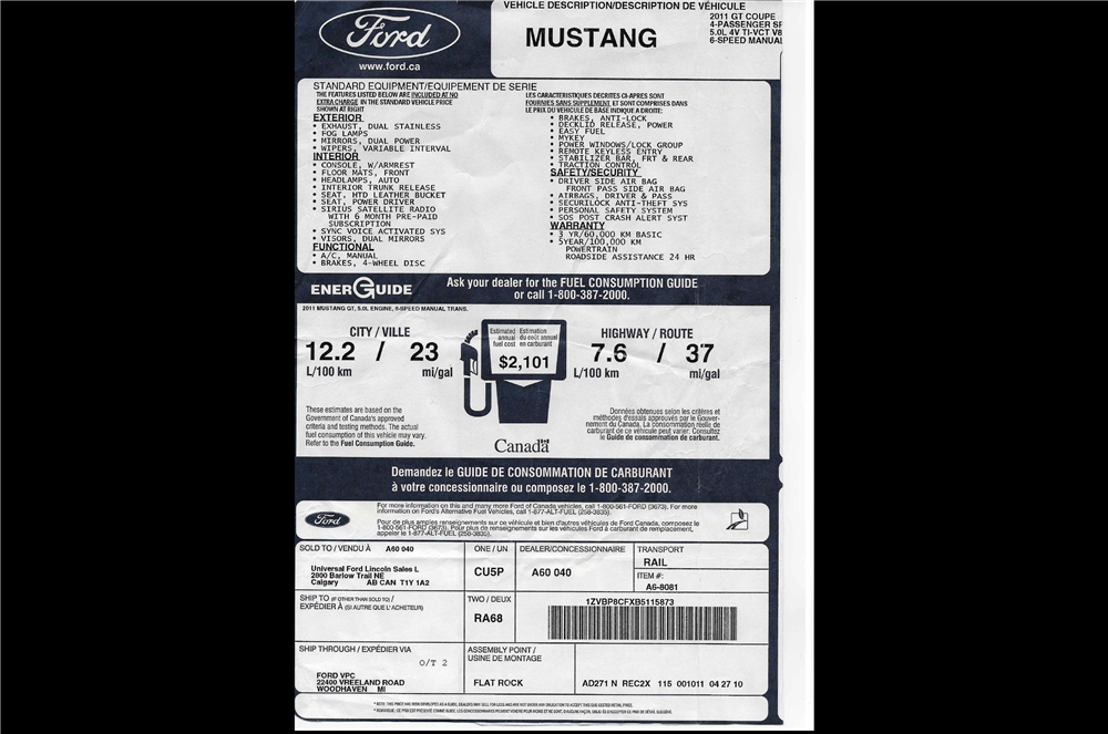 2011 FORD MUSTANG - Misc 7 - 210145