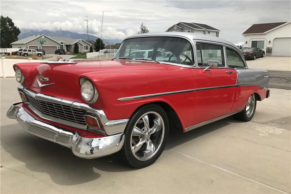 1956 CHEVROLET BEL AIR CUSTOM 2-DOOR POST - Front 3/4 - 212607