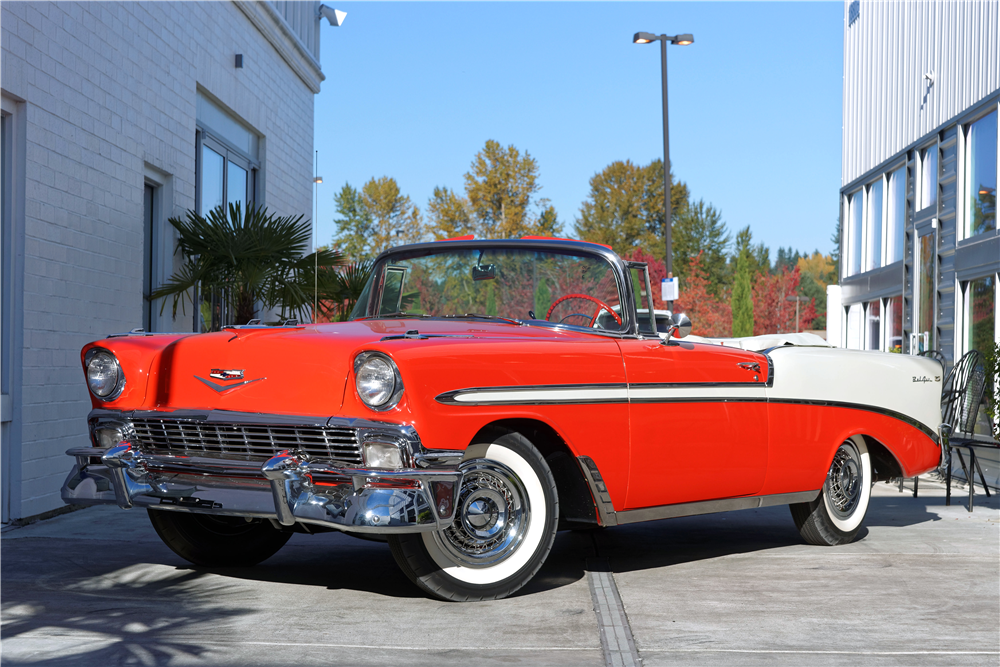 1956 CHEVROLET BEL AIR CONVERTIBLE - Front 3/4 - 212819