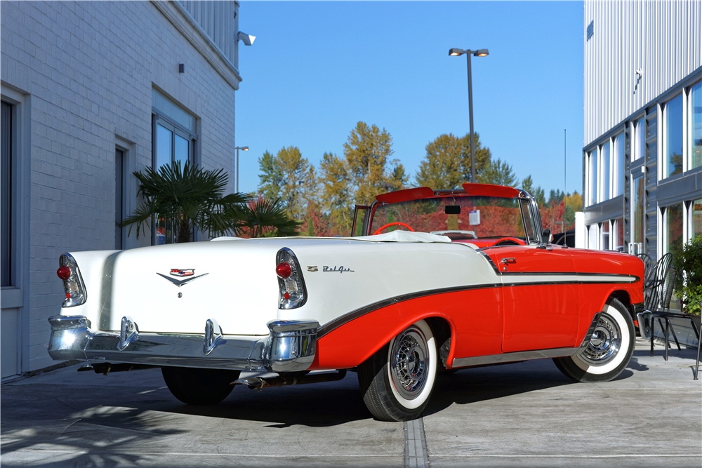 1956 CHEVROLET BEL AIR CONVERTIBLE - Rear 3/4 - 212819