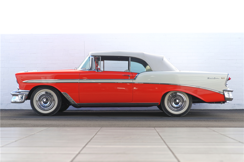 1956 CHEVROLET BEL AIR CONVERTIBLE - Side Profile - 212819