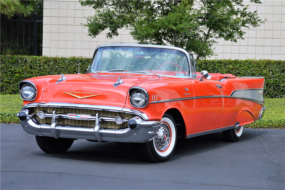 1957 CHEVROLET BEL AIR CONVERTIBLE - Front 3/4 - 213014