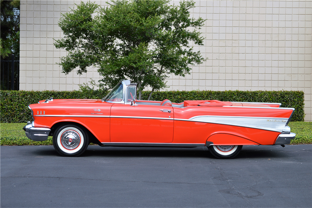 1957 CHEVROLET BEL AIR CONVERTIBLE - Side Profile - 213014