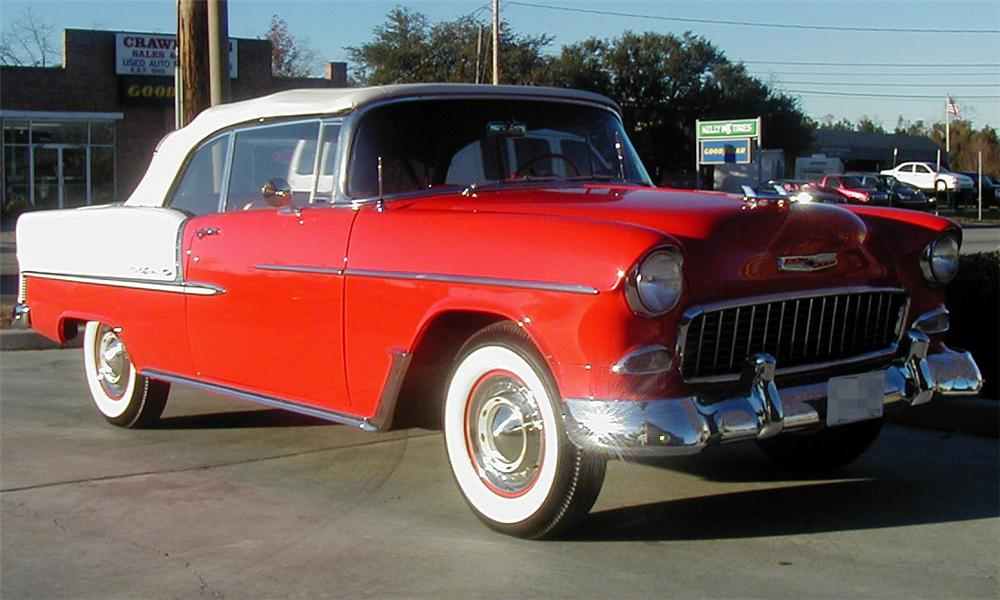 1955 CHEVROLET BEL AIR CONVERTIBLE - Front 3/4 - 21518