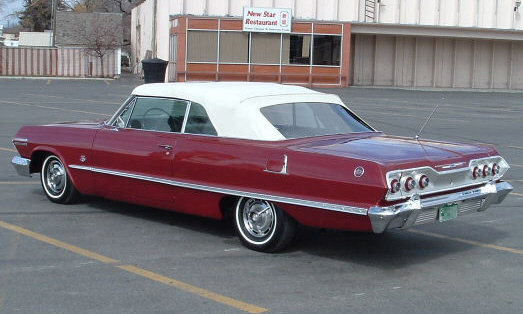 1963 CHEVROLET IMPALA SS CONVERTIBLE - Rear 3/4 - 21671