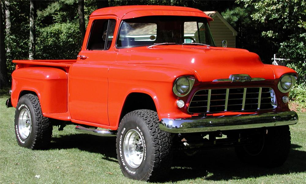 1955 CHEVROLET STEP-SIDE 4X4 CUSTOM SHOW TRUCK - Front 3/4 - 22006
