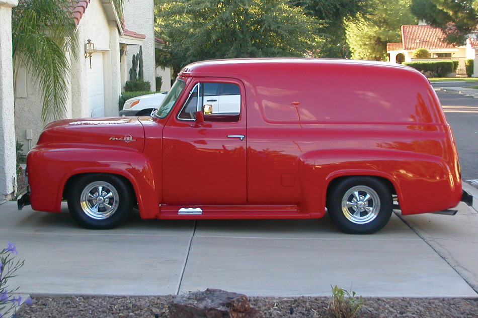 1955 FORD F-100 CUSTOM PANEL TRUCK - Front 3/4 - 22435